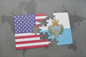 puzzle with the national flag of united states of america and san marino on a world map background