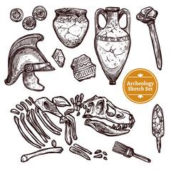 Fototapeta Archeology Hand Drawn Sketch Set obraz