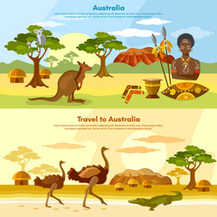 Australia travel banner Australian aborigines Australia people