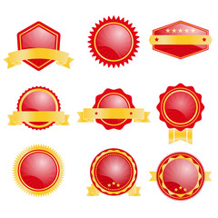 set of blank badge with red and gold color vector illustration