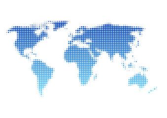 世界地図 ドット イラスト 青 グラデーション