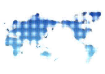 世界地図 ドット イラスト 青 グラデーション(日本中心)