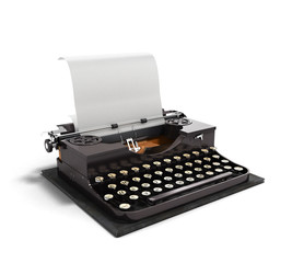 Retro rusty typewriter with paper sheet 3d render isolated on wh