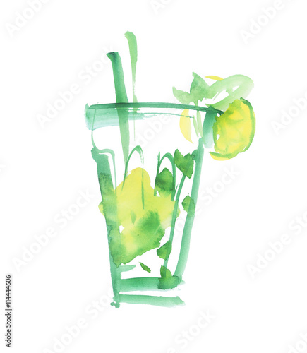 mojito cocktail isolated watercolor painting on white backgroun imagens e fotos de stock. Black Bedroom Furniture Sets. Home Design Ideas