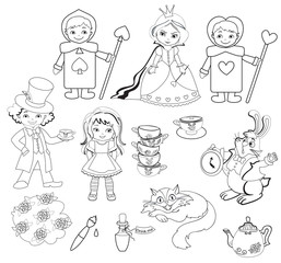 Alice in Wonderland. Set of characters. Coloring page.