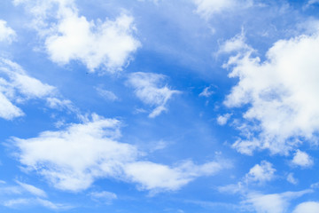 Sky and cloud / Blue sky and white cloud on summer. Good weather day background with copy space.