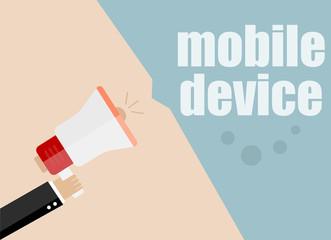 mobile device. Megaphone Flat design vector business illustration concept Digital marketing business man holding megaphone for website and promotion banners.