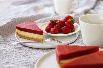 Time to sweet rest / Strawberry cheesecake with cup of coffee