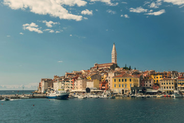 Old town Rovinj in Croatia, view from the water