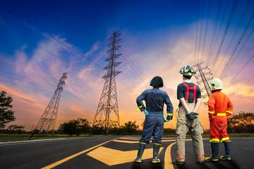 Engineer safety survey of electricity pylon