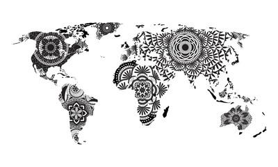 Mandala World Map Vector
