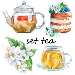 Set green tea. Teapot, cup, cake Rostik, jasmine branch. isolate