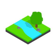 River landscape icon, isometric 3d style