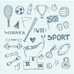Hand drawn vector illustrations. Sport and fitness set. Sketch i