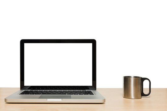 Open laptop with isolated white screen and stainless cup
