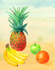tropical fruit, pineapple, bananas, oranges, apples, red and green on yellow background, watercolor painting, realistic illustration, retro style
