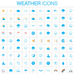 Weather icons set. Full and outline versions