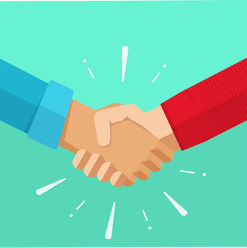 Handshake shaking hands business vector illustration with abstract rays, symbol of success deal, happy partnership, greeting shake, casual handshaking agreement flat sign design isolated