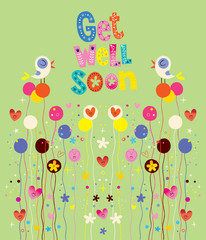 Get well soon nature card with birds, flowers and hearts