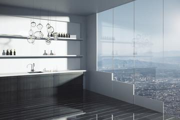 Modern dark kitchen interior