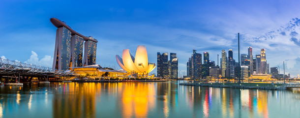 Aluminium Prints Asian Famous Place Singapore Skyline and view of Marina Bay at Dusk