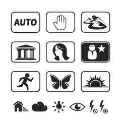 Digital camera modes icons set