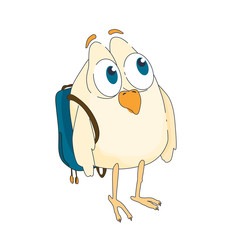 funny little bird with big eyes and a backpack on his back