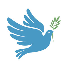 Silhouette of a flying dove with olive branch. White pigeon