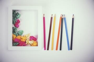 Pencils and paper balls toning