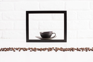 Coffee cup inside frame