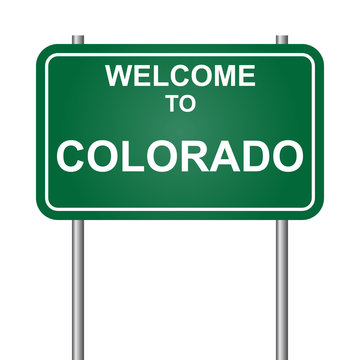 Welcome to State of  Colorado, green signal vector