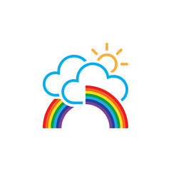 rainbow in clouds icon
