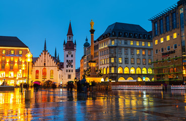Marienplatz at night in Munich, Germany