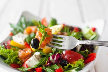 Food Eating Salad Salmon Fork Recipe Cuisine Snack Tasting Concept