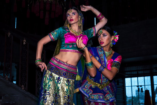 two beautiful women india beauty girl traditional dress