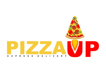 Pizza Up logo for pizza delivery. Fast shipping Fast food. Pizza