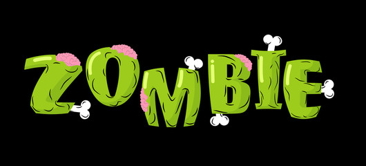 Zombie lettering. Bones and brains. Living dead typography. Gree
