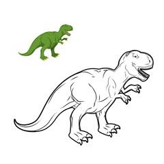 Tyrannosaurus Rex dinosaur coloring book. Prehistoric reptile li