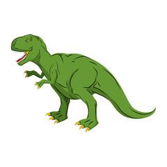Green gigantic Dinosaur Tyrannosaurus Rex. Prehistoric reptile.