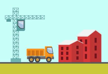 Construction site, building a house - vector flat illustration