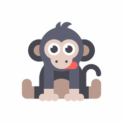 Baby monkey sitting on the floor and dticking out a tongue. Colored flat vector illustration isolated on white background.