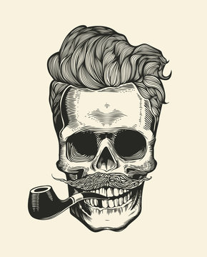 Skull. Hipster with mustache, beard, tobacco pipes and sunglasses. Sticker that represents skull character. Vector illustration in vintage engraving style. Perfect for t-shirt print.