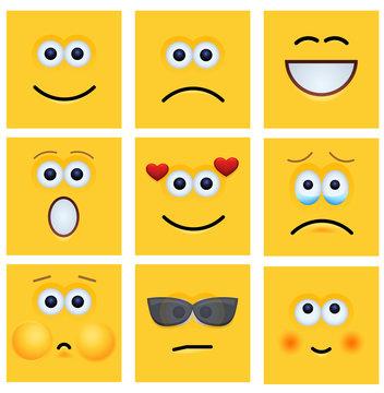 vector modern yellow face set background