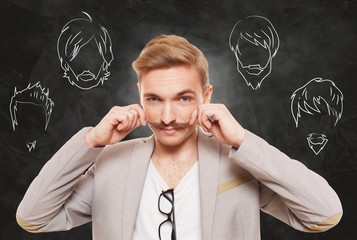 Man choose facial hair style, beard and mustache