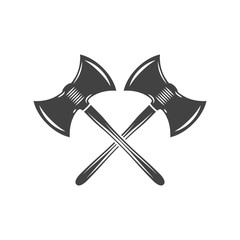 Two crossed battleaxes, battle axes. Black on white flat vector illustration, logo element isolated on white background