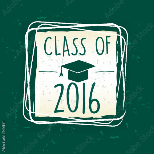 Class Of 2016 With Graduate Cap With Tassel In Frame Over Green