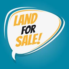 land for sale retro speech bubble