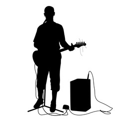 Silhouette musician plays the guitar. Vector illustration.