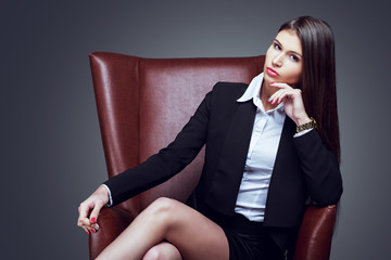 businesswoman in the chair