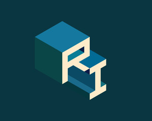 RI isometric 3D letter logo. three-dimensional stock vector alphabet font typography design.
